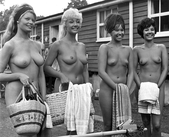 Publicity shot from the nudist film Naked as Nature Intended which was directed by Harrison Marks.