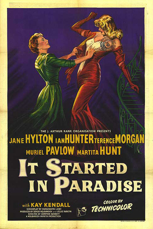 Film poster for It Started in Paradise (1952) an unusually plush, Lana Turner-esque  British production.