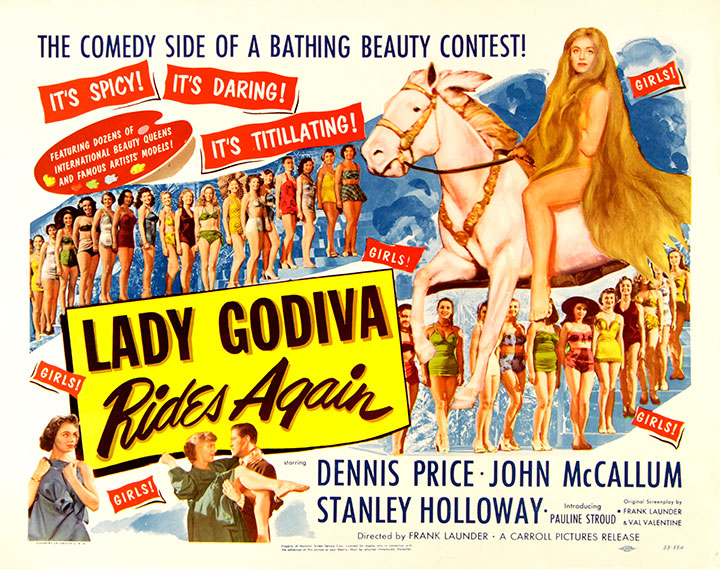 Film poster for Lady Godiva Rides Again (1951), released in the United States as Bikini Baby.