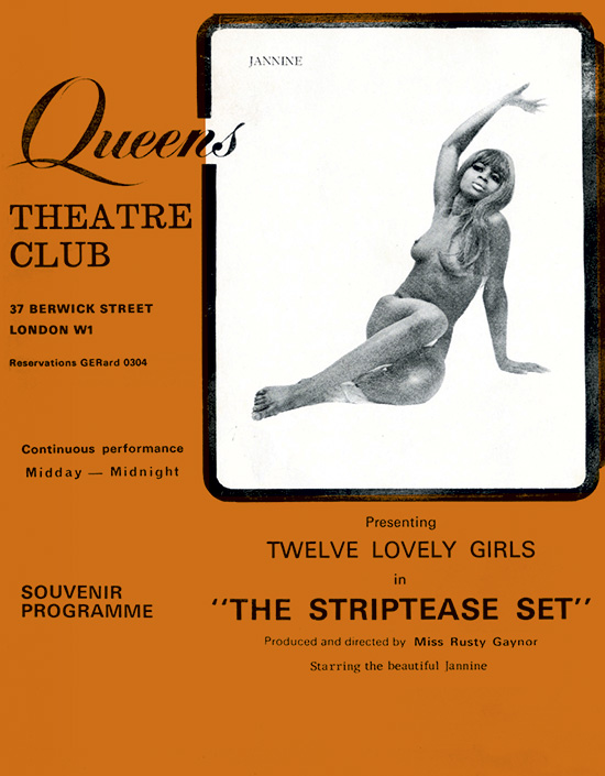 "12 lovely girls in ""The Striptease Set."" Directed and produced by Rusty Gaynor. Queens Theatre Club Souvenir Programme. 31 Berwick Street, London W1"