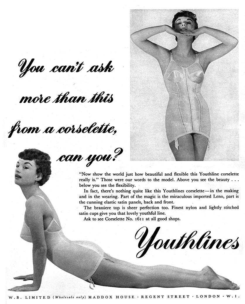 Youthlines advert in Vanity Fair (May 1954) featuring Pamela Green.
